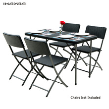 iKayaa US Stock 4FT Patio Furniture Camping Picnic Table Portable Outdoor Garden Party BBQ Dining Coffee Kitchen Table+4 Chair