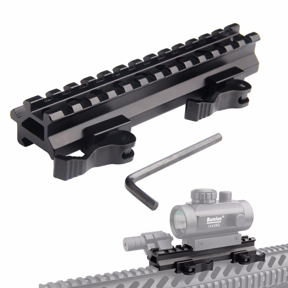 Airsoft Long Quick Detachable Double Rail Angle Weaver Picatinny Mount Integral QD Lever Lock System 13 Slots For Hunting RL1-0012-2