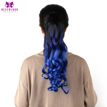 "Neverland 20"" 50cm Wavy Synthetic Claw On Hair Tail Blue Ombre Ponytails Hair Extensions Heat Resistant #1B/Hyacinth/Blue(China)"