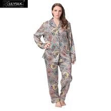 Lilysilk Pure Natural Silk Pajamas Set Nightwear 2016 Brand New Plus Size Women's Sleepwear Floral Geometric Print 19 Momme