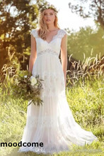 Buy 2018 Boho Beach Wedding Dresses V Neck Cap Sleeve Sweep Train Bridal Gowns Lace Applique Backless Plus Size Wedding for $145.00 in AliExpress store