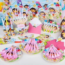 Party supplies 78PCS for 6persons DORA THE EXPLORER theme party, birthday party decoration super set