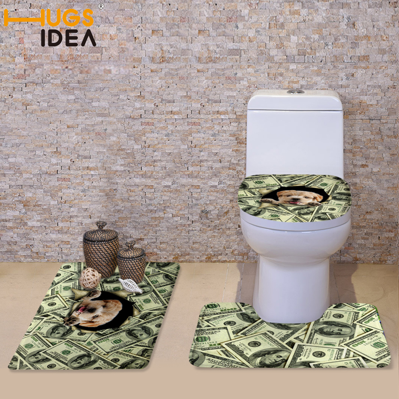 HUGSIDEA Toilet Seat Covers Set Mat Bathroom Warmer Toilet Washable Cloth Cartoon Cat Dog Money Designs Toilet Seat Cushion(China (Mainland))