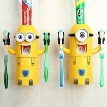 2016 New Listing Minions Toothbrush Holder Automatic Toothpaste Minion Dispenser With Brush Cup Bathroom Set Free Shipping