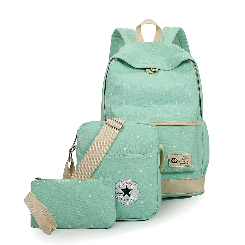 2017 New casual women backpack canvas Korean school bags travel backpacks for teenage girls preppy style dots women bag set<br><br>Aliexpress