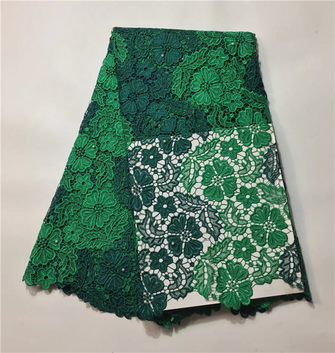 New Arrival kitted green High quality chemical water soluble African cord lace fabric with stones fashion style 5 yards/Lot(China (Mainland))