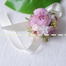 8pcs Silk Artificia Rose Boutonniere Bride Corsage Wrist Flower Wedding Church Decor Purple 3 Color BW015-2