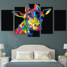 Modern Canvas Home Decor Wall Art HD Printed Oil Pictures Frame 5 Pieces Colorful Giraffe Painting Animal Abstract Poster PENGDA