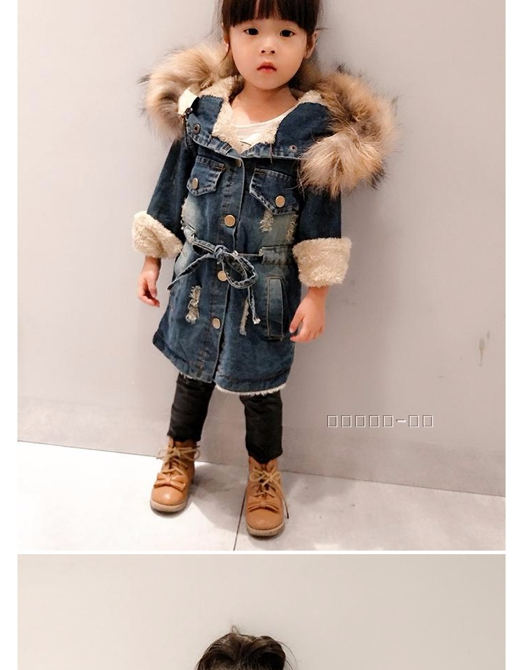 New Fur Collar Childrens Costumes Thicken Velvet Winter Girls Jacket Full Sleeve Kids Girls Jeans Coats &amp; Denim Jackets OutwearОдежда и ак�е��уары<br><br><br>Aliexpress