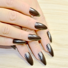 Medium Black Brown False Nail Pointed Waterdrop Shape Fake Stiletto Nails Full Cover Pure Candy colour 229P(China)
