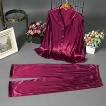 Women's silk pajamas set of chun xia female pure evanescent hues and smooth satin housedress buttons cardigan pajamas sleepwear