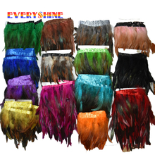 2 Yards 12 Color for Selections Rooster Tail Wedding Bride Dresses Decoration Skirt Feathers Party Decorative Boas Strip IF25(China)