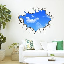 blue sky white clouds creative 3 d wall sitting room adornment bedroom wall stickers Posters scratch map(China)