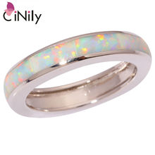 CiNily Created White Fire Opal Silver Plated Ring Wholesale Retail Hot Sell Fashion for Women Jewelry Ring Size 7 8 9 OJ5931(China)