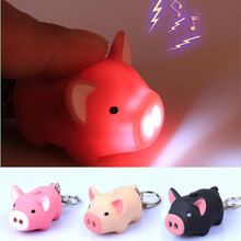1 pc 3 Colors Lovely Pig Sound With LED Light New 2016Super Bright Hot Key Chain Animal Free Shipping