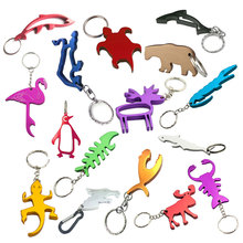 TEMLUM Personalized Logo  Cute Aluminum Alloy Animal Wine Beer Bottle Opener Keychain Tool Key Ring Wedding Favor Gifts