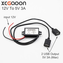 XCGaoon Car DC-DC Converter Module Cable with 2 USB Port, input DC 12V To USB Ouput 5V 3A, Charge for iPhone Smartphone mobile(China)
