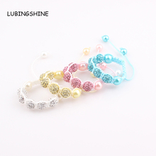 Baby Kids Shamballa Bracelet Pave Crystal Disco Ball Candy Beads Friendship Children Bracelets  Nice Gift for Children kids ZB76