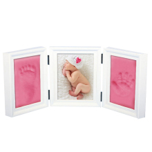 Baby Photo Frame Diy Footprint Handprint Imprint Cast Gift Set Picture With Soft Clay cover Novelty Gift for kid(China)