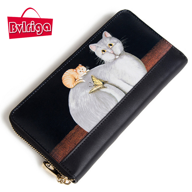 BVLRIGA Women 100% genuine leather wallet high quality famous brands long purses bag fashion cat ladies wallets high clutch bag<br>