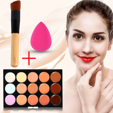 Profession 15Color Makeup Concealer Palette with Wood Brush Puff Set Cosmetic Base Foundation Cream Corrector Matte Face Make Up