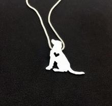 50cm Labrador sitting pendants love Heart Dog puppy Necklaces silver choker Party boho Charms Pendant For women necklace Jewelry