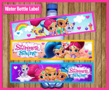 Shimmer And Shine Bottle Water Labels, party, wrappers, Baby Shower ,Birthday party decorations kids, Party supplies Candy Bar(China)