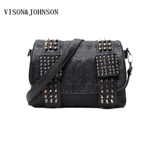 VISON&JOHNSON Luxury Handbag Women Bag Designer Women's Bag Rivet Chain Messenger Shoulder Bags Female Skull Clutch Famous Brand(China)