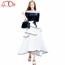 Summer 2017 Strapless Sexy Maxi Cloth Vestidos Women Off Shoulder Black White Patchwork Sashes Ruffles Swing Slim Long Dresses(China)