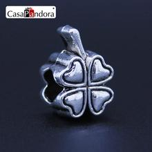 CasaPandora European Fashion Silver-colored Four Leaf Clover Charm Fit Bracelet DIY Jewelry Making(China)