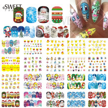1Sheet Nail Art Stickers Cute Cartoon/Christmas Water Transfer Designs Nail Tips Decals Full Wraps Beauty Craft Decor STZ392-414(China)