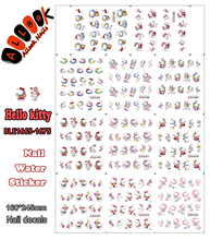Nails Sticker (Large Piece BLE1665-1675 11 DESIGNS IN 1)Cartoon KT Colourful Hello Kitty Nail Art Water Transfer Sticker Decal