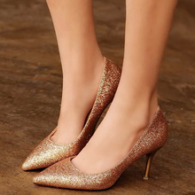 OL Office Lady Shoes Womens High Heels Shoes Gold Sequined Cloth Pumps Woman Dress Shoes Silver Wedding Shoes Spring Autumn 2913