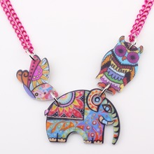 Buy Bonsny Elephant Necklace Acrylic Owl Pendant pattern 2016 News Accessories Collar Choker Cute Animal Girls Women Fashion Jewelry for $3.92 in AliExpress store