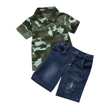 Baby Boy Leopard Clothes Newborn Toddler Infant Kid T-shirt Top Denim Pants Outfit Set(China)
