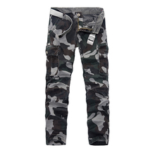Hot Sale Men Cargo Pants 2017 Spring New Camouflage Work Pant Multi Pockets 100% Cotton Loose Casual Pants Men Trousers 29-40