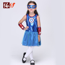 Cosplay Dance Dress Girls Cos Play Superman Suit Hallowmas Party Cos Costume Children's Day Make Up Party Dress B-2991