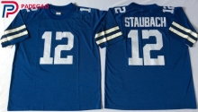 Embroidered Logo 12# Roger Staubach throwback high school FOOTBALL JERSEY blue white for fans gift cheap 1104-5(China)