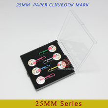 Free shipping customization 25mm bookmark paper clip button finished with your logo packing with gift box