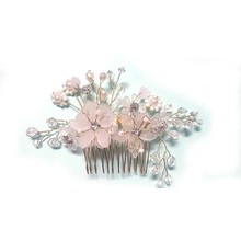 Fashion Style Pearl Flower Handmade Bridal Crown Wedding Hair Jewelry Crystal Tiara For Woman SL