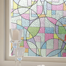High Quality 2D Printed Static Cling Window Film Stained Glass Paper Decorative Frosted Vinyl Factory Price BZ95-Y08(China)