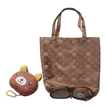 Cartoon Animal Folding Shopping Tote Reusable Eco Bag Panda Frog Pig Bear waterproof shopping bag Grocery  Reusable  Handbags