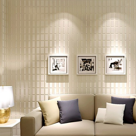 3D Geometry Non-woven Fabric Wallcovering Background Living Room Beige Blue papel parede 3d<br>