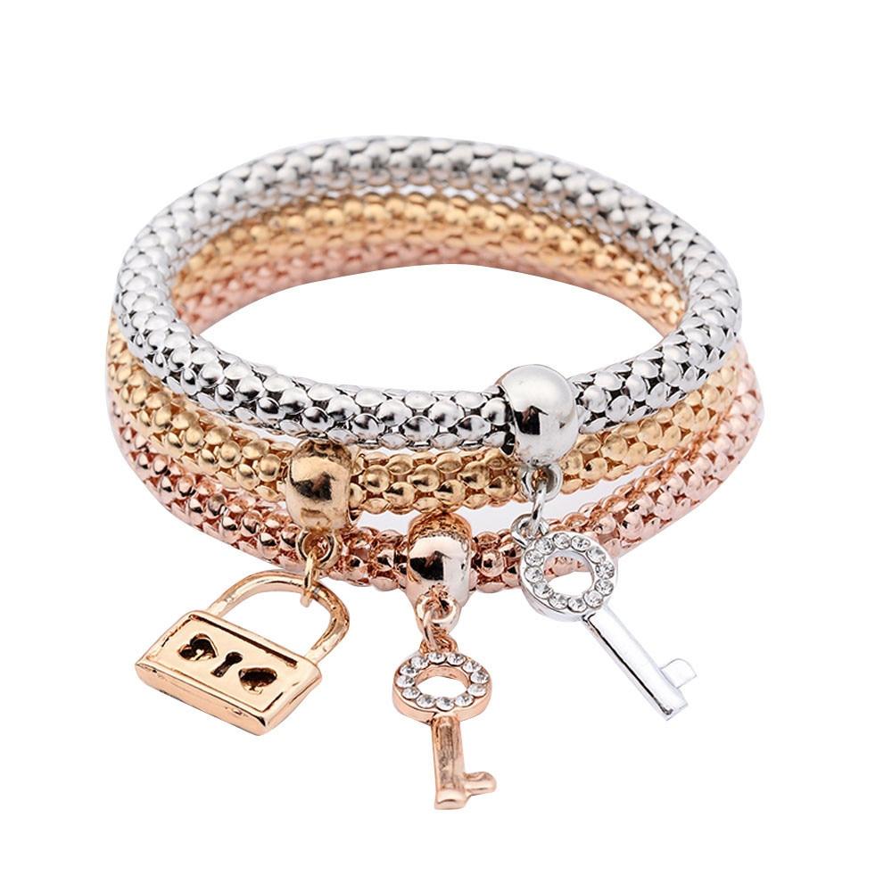 Love lock Bracelet Three Piece Set