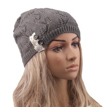 winter beanie hats New Stylish Ladies Women Wool Button Lace Patchwork Knitted Warm Hat