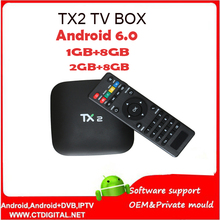 5PCS 2017 TX2 Android TV Box Rockchip RK3229 Quad core 2G/8G Wifi Android 6.0 Bluetooth Media Player Set top Box PK V88