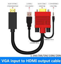 10ft 60ft VGA male in to HDMI male out with power AV Converter 1080P 3D HDTV Video Cable VGA HDMI For TV PC Projector 5m 10m 20m