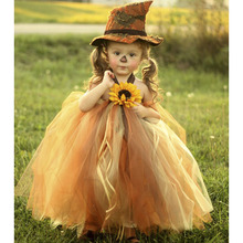 Scarecrow Halloween Girl Pumpkin Tulle Tutu Dress Girls Pageant Party Trick or Treat Tutu Dresses For Kids Thanksgiving Outfit(China)