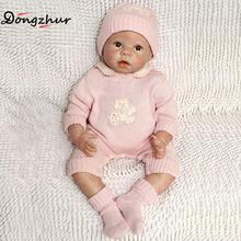 Dongzhur Solid Silicone Reborn Babies Doll Pink Hat Knitwear Baby Photography Clothing Props Nanny Training Dolls Christmas Gift(China)