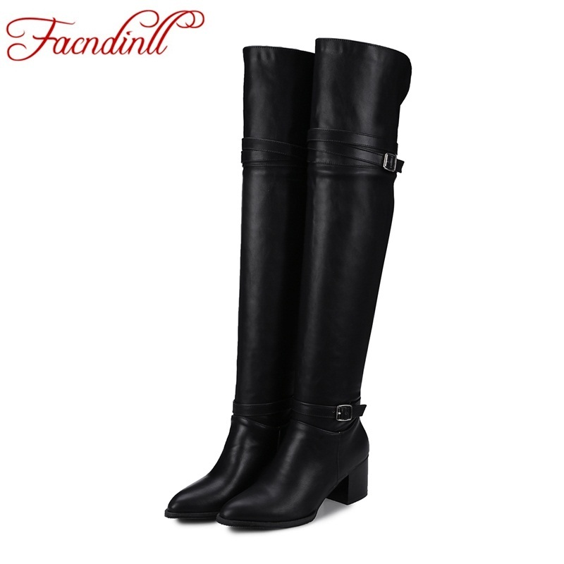 FACNDINLL new PU leather women over the knee high boots sexy high heels pointed toe shoes woman riding snow boots black shoes<br>